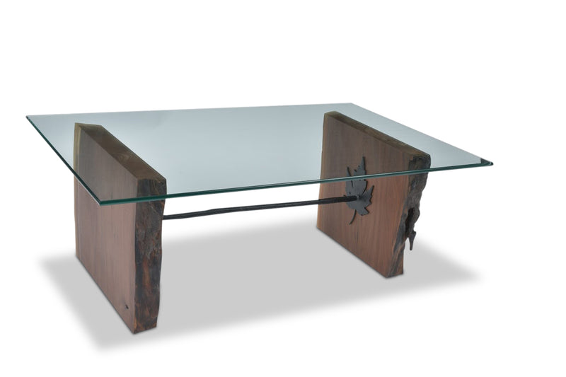 """Maple Leaf"" Glass & Walnut Coffee Table"