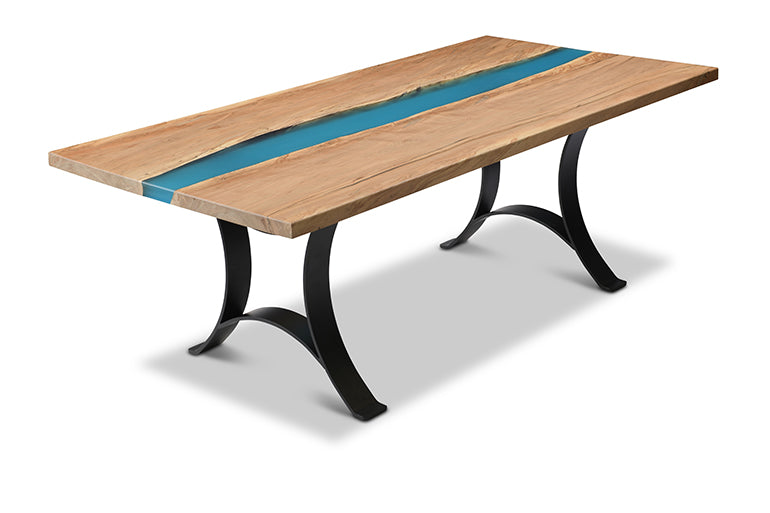 Blue Epoxy Resin Dining River Table | Price $3,700 | Blue Epoxy Resin | Sturdy Metal Legs | Live Edge Maple Wood | Handcrafted In Ohio