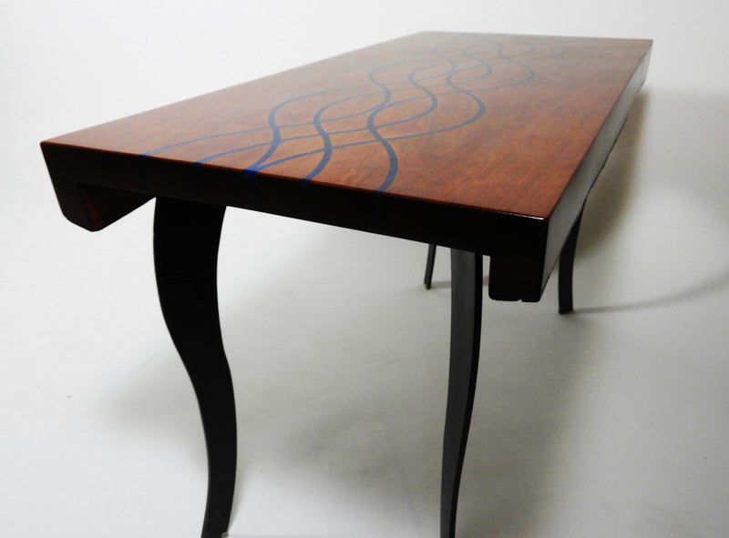 Modern Cherry Table With Epoxy Resin Inlay