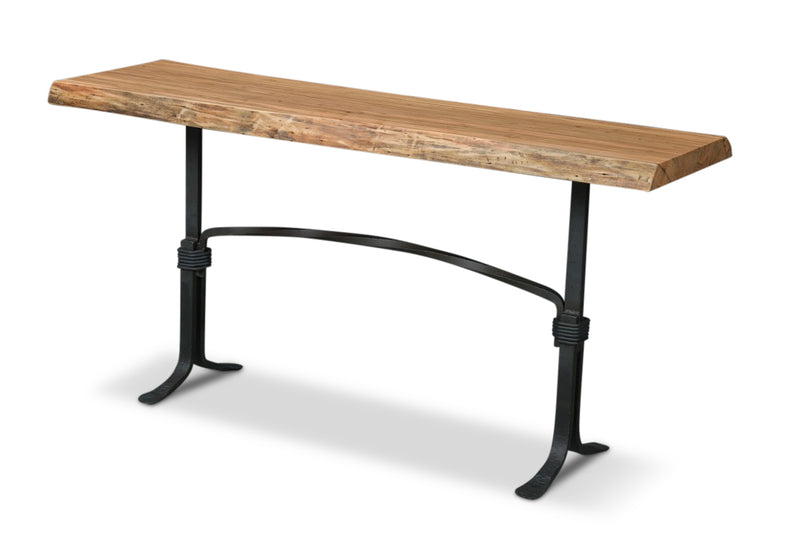 Coal Forged Sofa Table | Price $2,700 | Live Edge Maple Wood | Sturdy Metal Legs | Handcrafted In Ohio