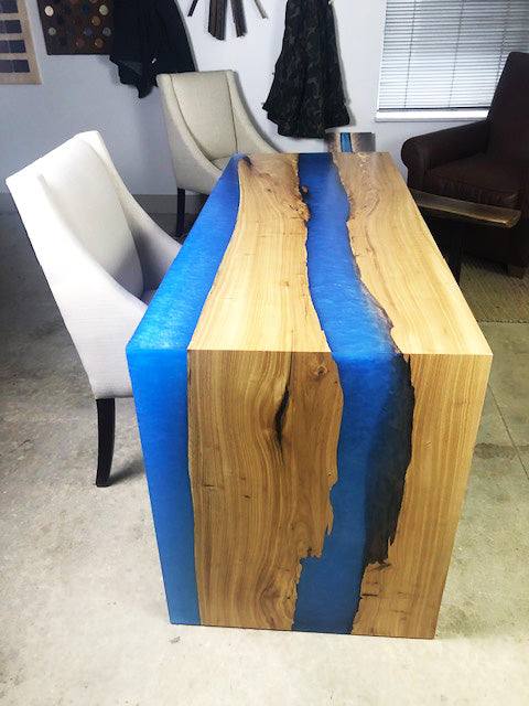 "River Table With Epoxy Resin & Live Edge Wood Desk | Elm Wood Slab | Blue Epoxy Resin ""River"" Table 