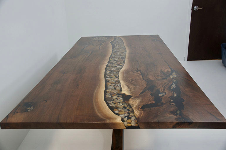 Walnut River Dining Table With Rocks
