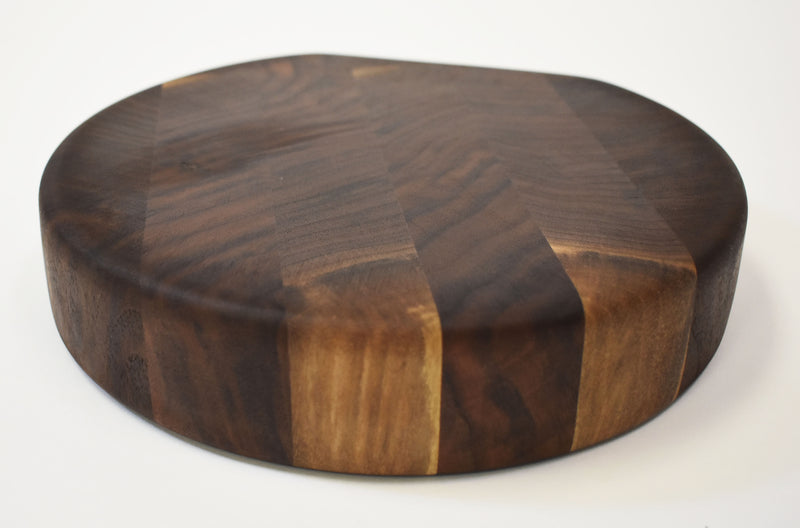 Rustic Round Walnut End Grain Cutting Board