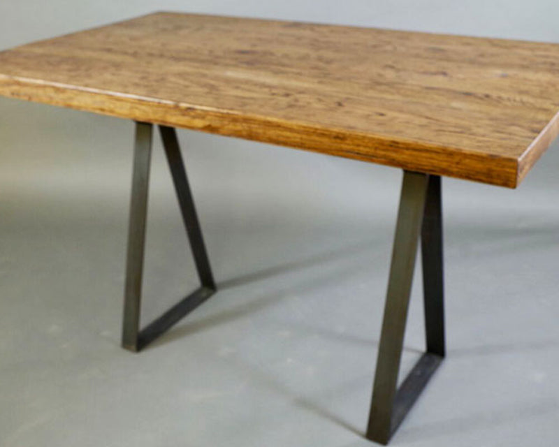 Rustic Barn Oak Studio Desk/Table | Price $2,300 | Reclaimed Barn Wood Furniture | Steel Base | Handcrafted In Ohio