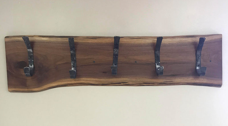 Live Edge Walnut Rustic Coat Hangers | Rustic Steel Clothing Hooks | Wall Mounted Hangers