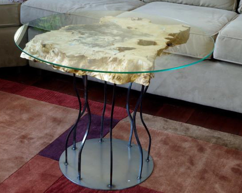 Spalted Maple Side Table With Metal Legs | Price $1,800 | Glass Tabletop Side Table | Artistic And Sturdy Steel Legs | Handcrafted In Ohio