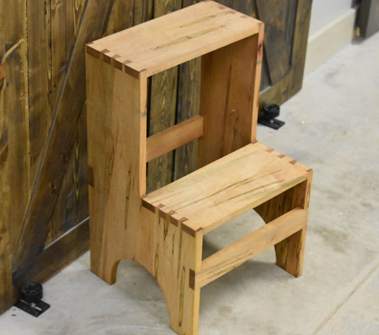 Spalted Maple Wooden Step Stool