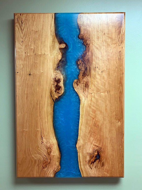 Cherry Epoxy Resin Wall Art | Price $2,000 | Blue Epoxy Resin River | Invisible Steel Brackets | Live Edge Cherry Wood | Handcrafted In Ohio