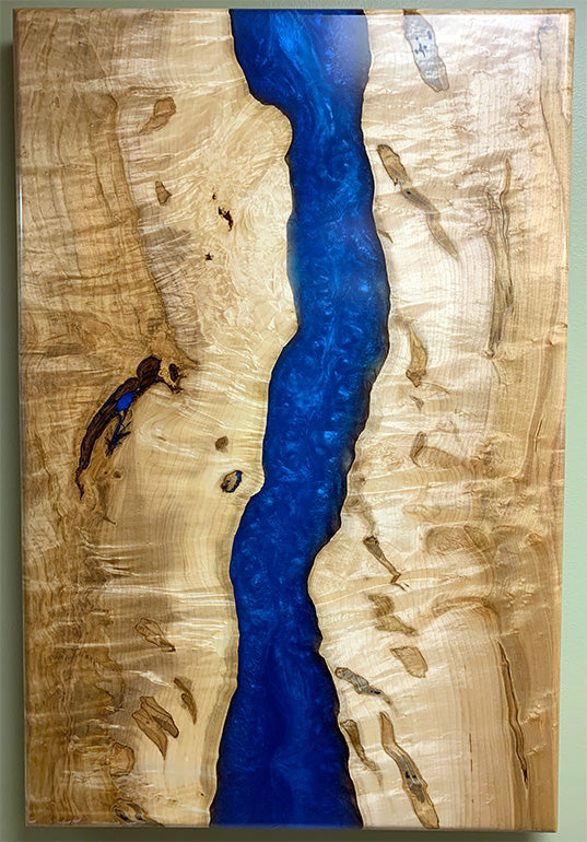 Maple Epoxy Resin Wall Art | Price $1,500 | Deep Blue Resin River | Invisible Metal Brackets | Handcrafted In Ohio