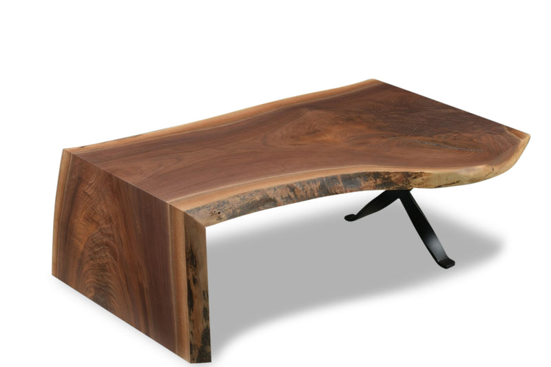 Walnut Waterfall Coffee Table | Price $3,300 | Solid Live Edge Walnut Wood | Sturdy Steel Leg | Handcrafted In USA