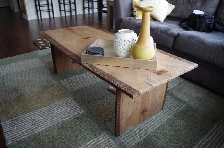 Walnut Coffee Table With Zebra Wood Trim