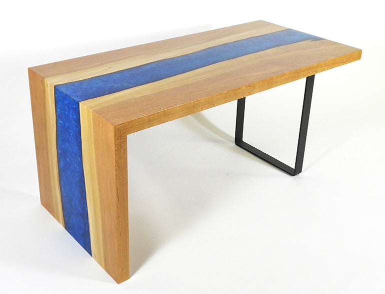 Live Edge Waterfall Coffee Table | Online Price $1,499 | Cherry Wood & Blue Epoxy Resin River | Waterfall Side Table | Waterfall End Table | Waterfall Bench
