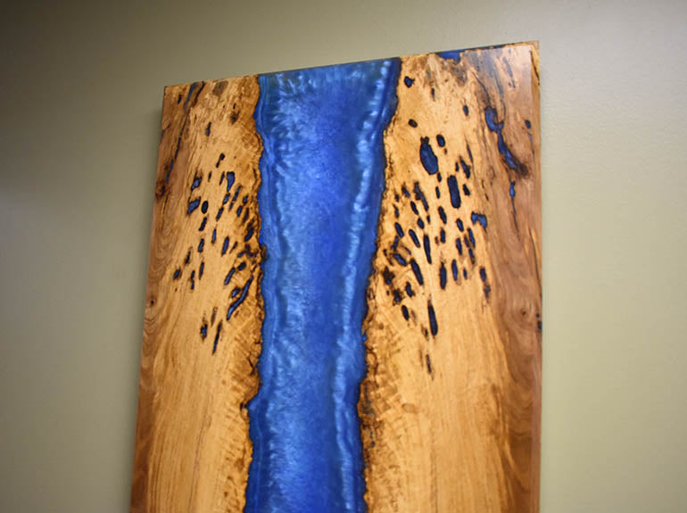 White Oak Epoxy Resin And Wood Wall Hanging | $1,200 | Live Edge White Oak Slab | Invisible Wall Mount | Blue Epoxy Resin River Wall Art | Handmade In USA
