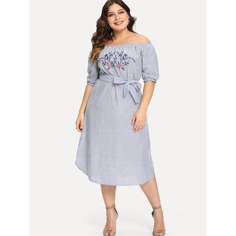 Bardot Embroidery Belted Dress