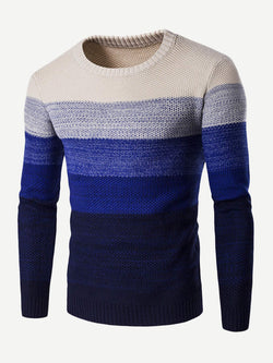 Men Color Block Dip Dyed Sweater