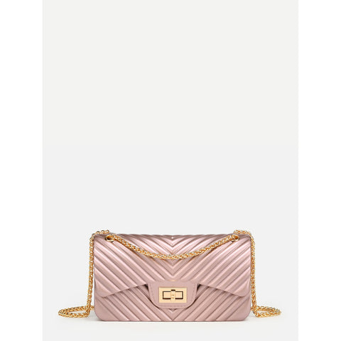 Chevron Stitch PVC Chain Crossbody Bag