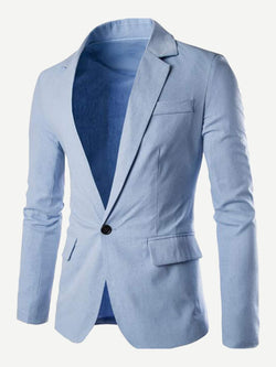 Men Plain Single Button Blazer