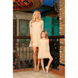 Beige Stretchy Lace Empire Waist Half Sleeve Day Mother Daughter Dress