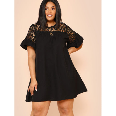 Guipure Lace Yoke Keyhole Back Dress