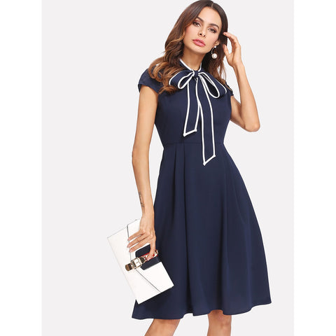Contrast Binding Tie Neck Fit & Flare Dress