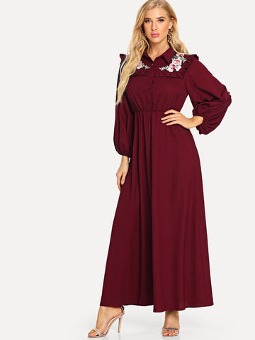 Embroidered Frilled Yoke Lantern Sleeve Dress