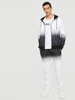Men Contrast Ombre Hooded Top With Pants