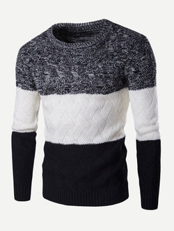 Men Color Block Pattern Contrast Sweater