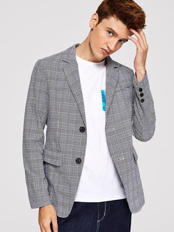 Men Single Breasted Plaid Blazer