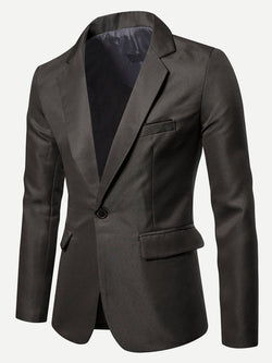 Men Solid Single Button Blazer