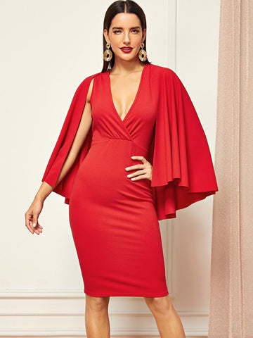 Cloak Sleeve Surplice Wrap Bodycon Dress