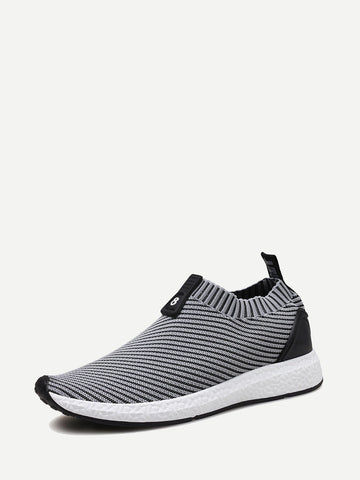 Men Ribbed Detail Slip On Sneakers