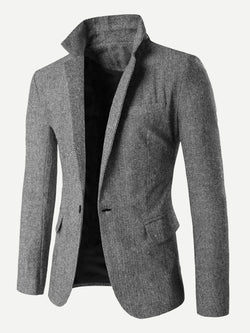 Men Split Back Single Button Blazer