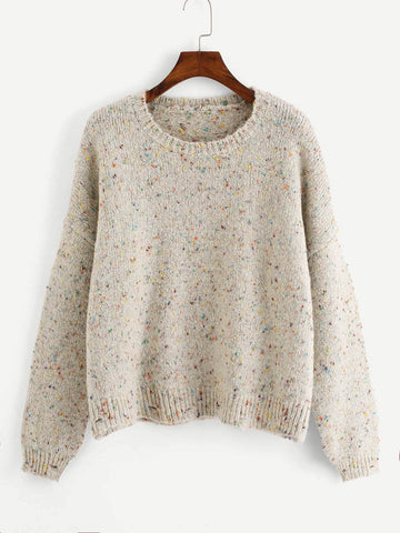 Drop Shoulder Spotted Knit Sweater