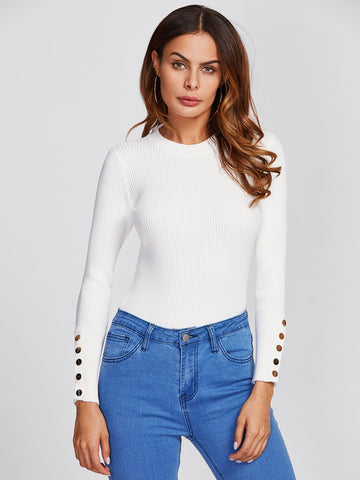 Button Cuff Ribbed Sweater