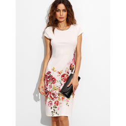 Rose Print Cap Sleeve Dress