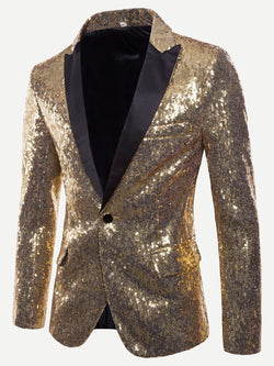 Men Contrast Placket One Button Sequin Blazer