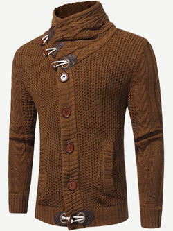 Men Single Breasted High Neck Sweater