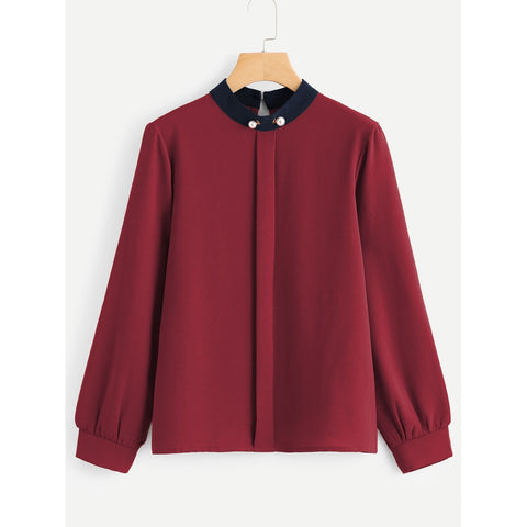 Contrast Collar Pearl Detail Blouse