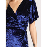 Frill Trim Surplice Wrap Crushed Velvet Dress
