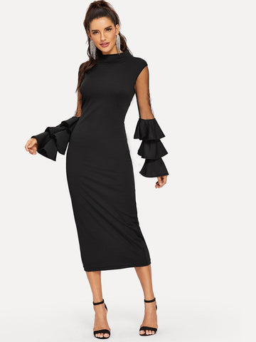Contrast Mesh Layered Sleeve Dress