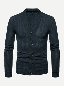 Men Solid Ribbed Sweater Coat