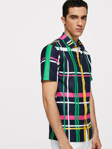 Men Colorful Plaid Shirt