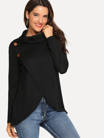 Button Decoration High Neck Sweater