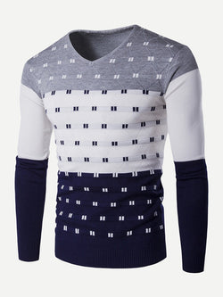 Men Color Block  Striped Sweater