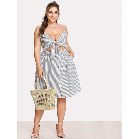 Bow Tie Front Stripe Slip Dress