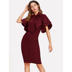 Bow Tie Neck Layered Bell Sleeve Dress