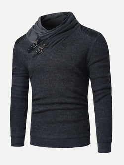 Men Buckle Detail Solid Jumper