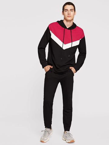 Men Color-Block Drawstring Hoodie & Pants Set