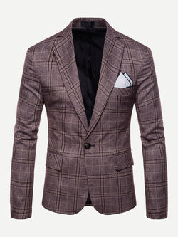 Men Single Button Split Back Plaid Blazer