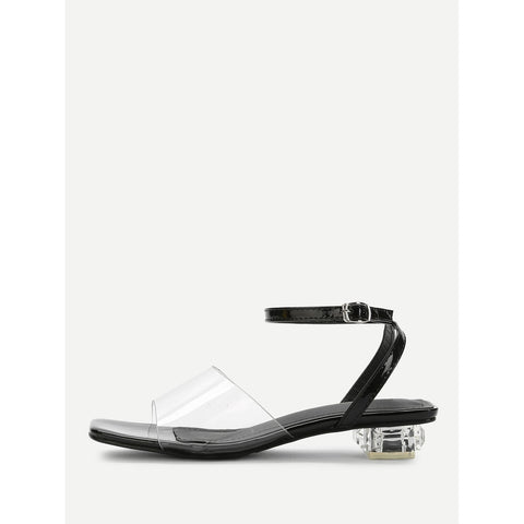 Clear Detail Ankle Strap Heeled Sandals